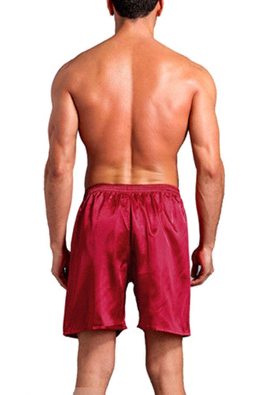 TiaoBug Homme Bas de Pyjama Satin Short de Nuit L/âche Cale/çon de Chambre Pantalon Court de Maison Boxer Trunk Short de Bain Et/é V/êtements de Nuit L-3XL