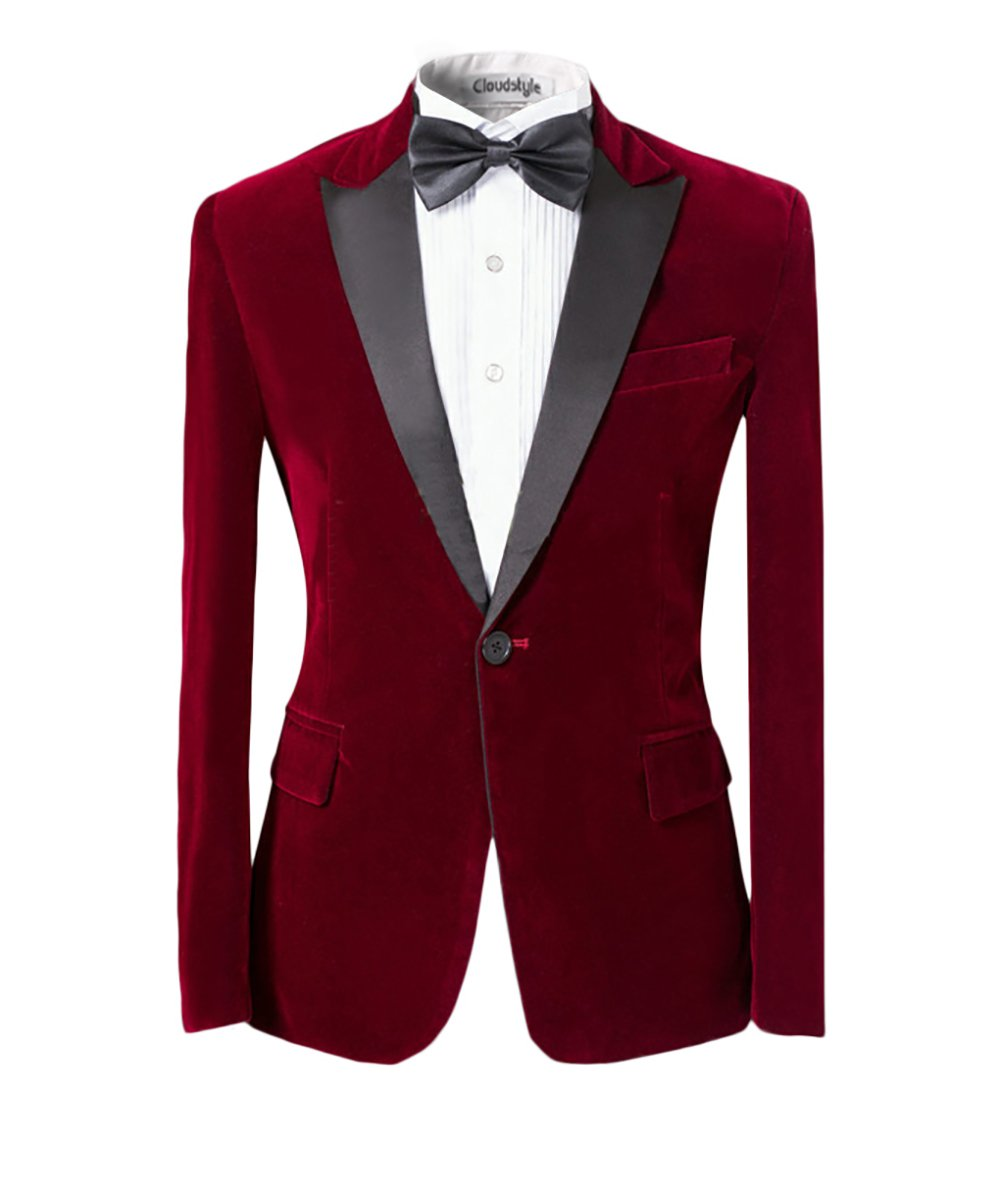 Men Peaked Lapel Center-Vent One-Button Blazer Tuxedo Casual Dress Suit Slim Fit Jackets & Trousers HZ010
