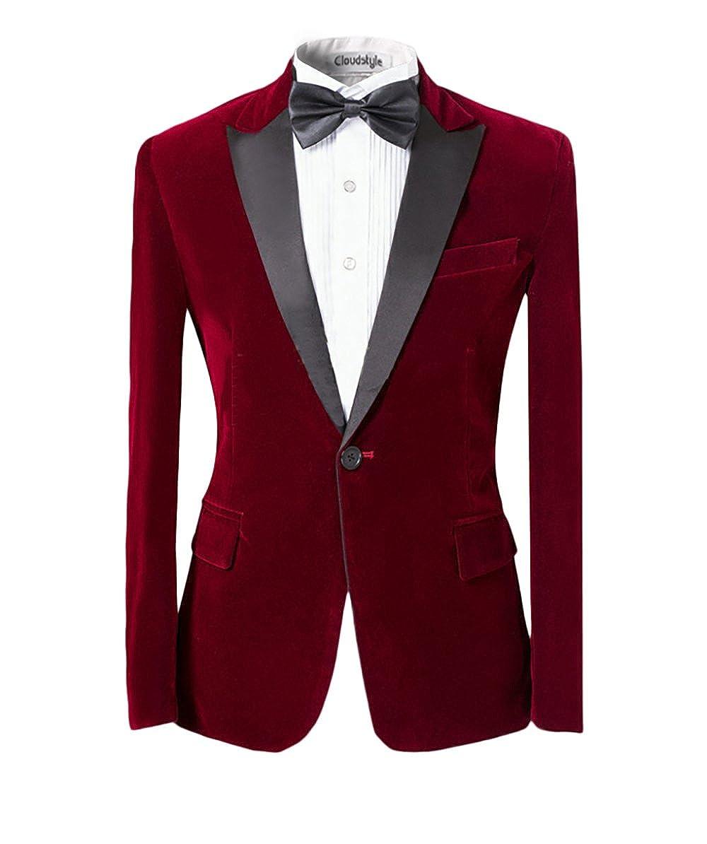 Men Peaked Lapel Center-Vent One-Button Blazer Tuxedo Casual Dress Suit Slim Fit Jackets & Trousers HZ010r-XL