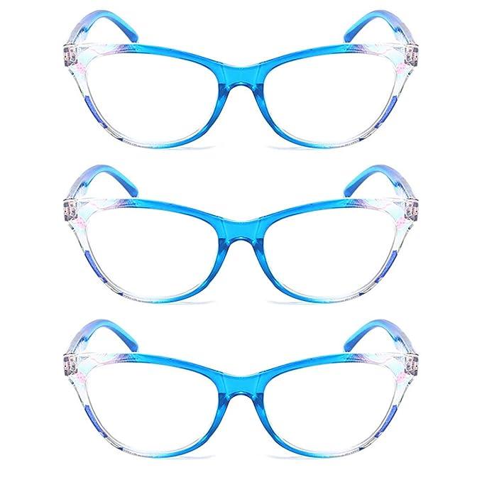 IOSHAPO hombres mujeres 3 paquetes Gafas de lectura de ojo de gato ...