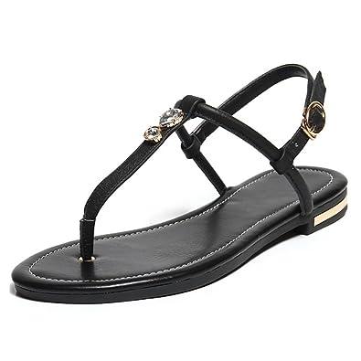 MERUMOTE Damen Flache Sommerdreieck Metallschnalle Low Heel Sandale Schuhe Schwarz 36 EU