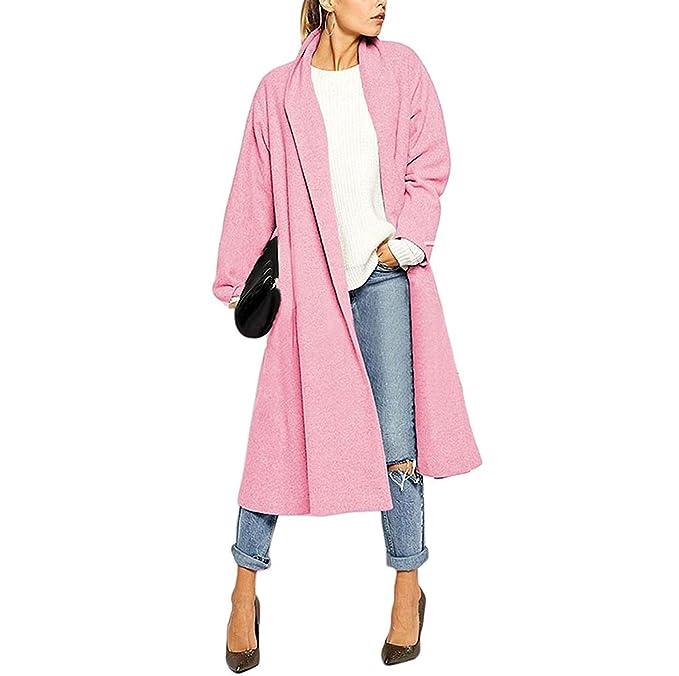Abrigos Mujer Primavera Otoño Casuales Abierto Cardigan Largos Color Sólido Modernas Anchas Transición Manga Largo Abrigo Lana Outerwear (Color : Rosa, ...