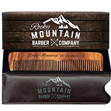 Hair Comb - Wood with Anti-Static & No Snag with Fine and Medium Tooth for Beard, Head Hair, Mustache with Premium Carrying Pouch in High Quality Design in Gift Box by Rocky Mountain