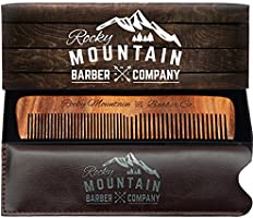 Hair CombWood with AntiStatic No Snag with Fine and Medium Tooth for Beard, Head Hair, Mustache with Premium Carrying Pouch in Design in Gift Box by Rocky Mountain