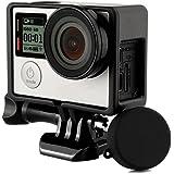 【Taisioner】GoPro HERO4/3+/3専用 保護フレーム+シリコンレンズカバー+UVレンズフィルター スポーツカメラアクセサリー (黒)
