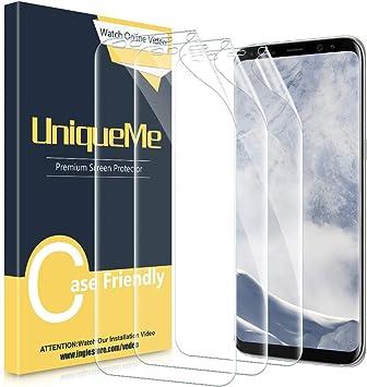 UniqueMe Compatible para Samsung Galaxy S8 Protector de Pantalla,(3 Piezas) Protector de Pantalla[HD][Cobertura Completa][fácil instalación sin Burbujas] Protector de Pantalla de TPU: Amazon.es: Electrónica