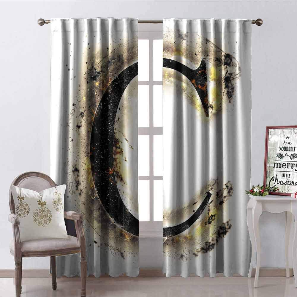 GUUVOR Letter C Wear-Resistant Color Curtain Letter C Flaming Backdrop Combusted Alphabet Symbol Paper Effect Writing Waterproof Fabric W42 x L84 Inch Tan Black Yellow