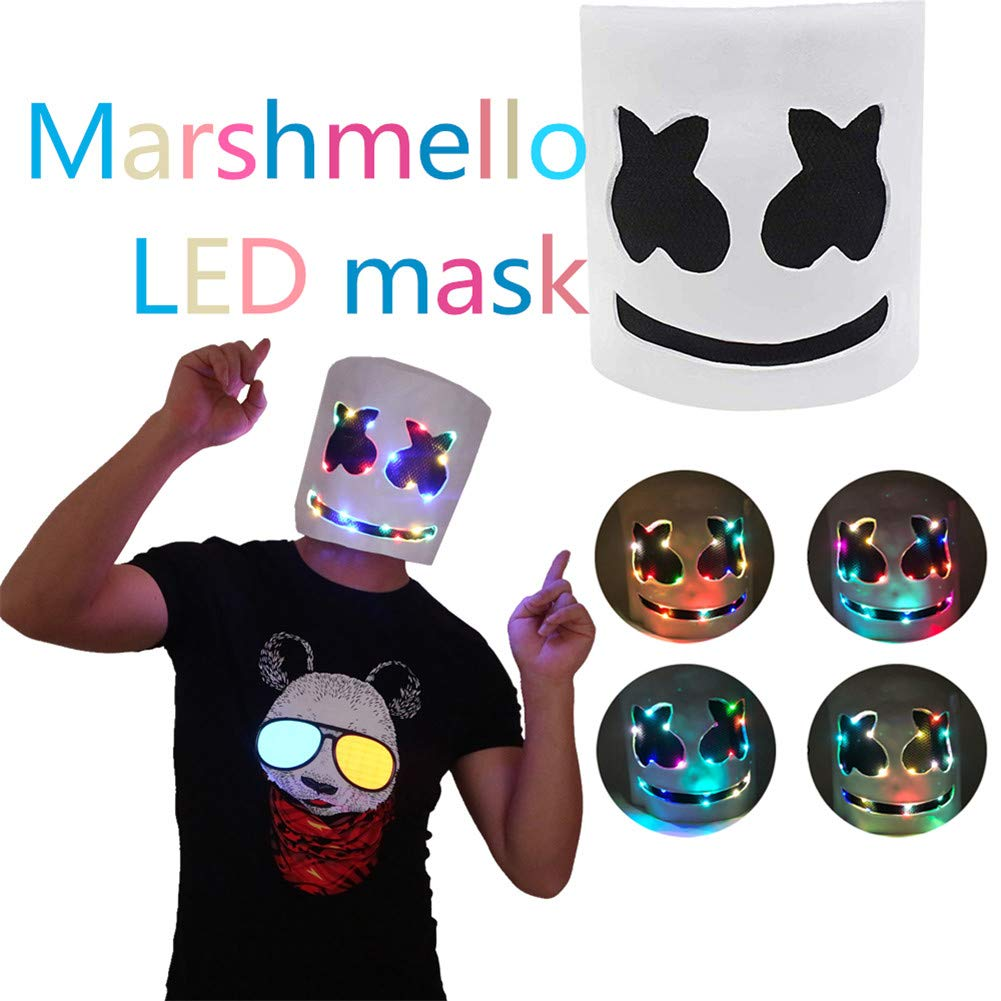 finelyty Marshmello Helmet, DJ Marshmello máscara para niños/Adultos, LED Marshmello DJ Mask Full Head Helmet, Cosplay Marshmallow Party Bar Música ...