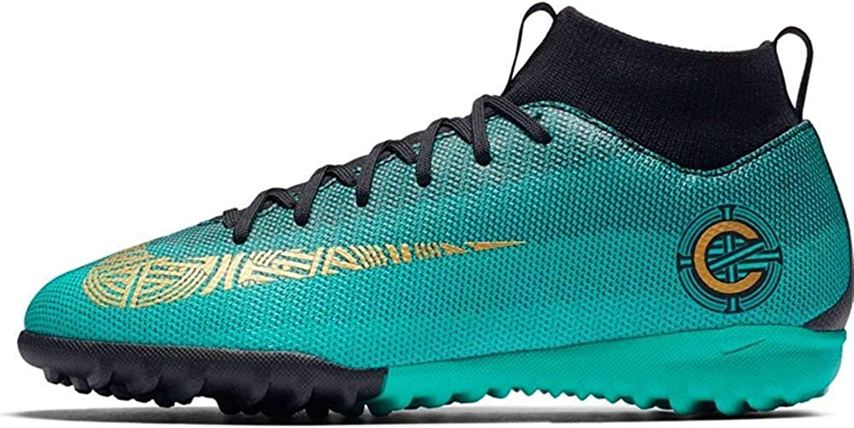 bf6c109a56c Nike Junior Superfly 6 CR7 Academy TF Turf Soccer Shoes -Jade Black Gold  Size