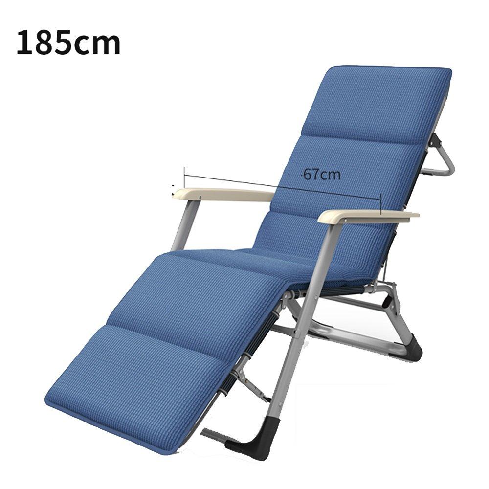 XXHDYR Recliner Klappstuhl Mittagspause Stuhl Siesta Stuhl Stuhl Balkon Liegestuhl Klappstuhl (Farbe : Blau, größe : 185cm)