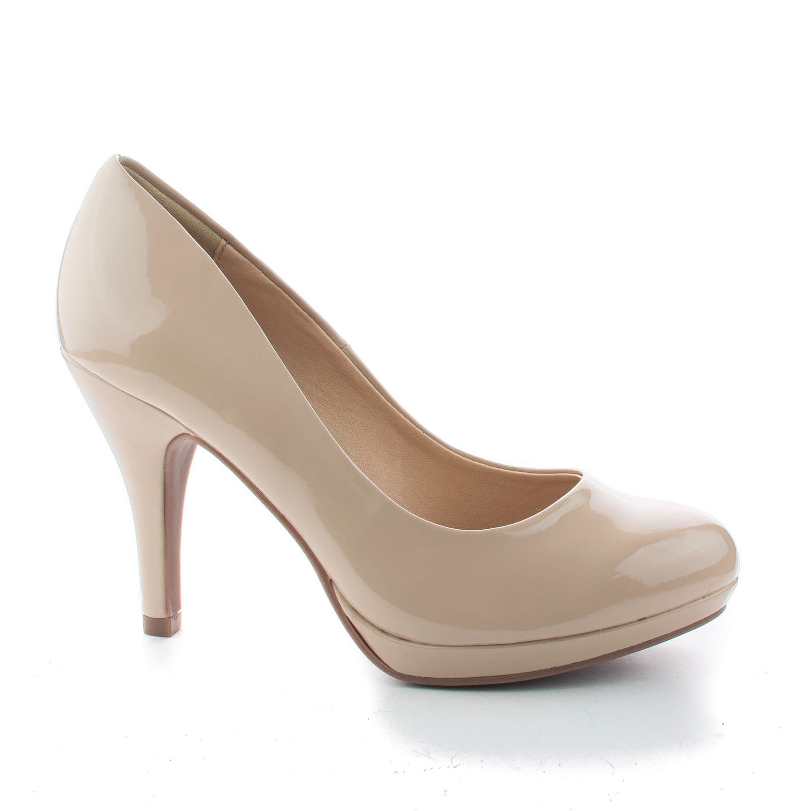 Sully's Round Toe Extra Cushioned Comfort Classic Dress Work Pumps (7 M US, Beige Pat)