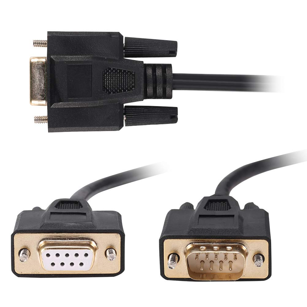 Jienk DB9 RS232 Serial Extension Cable 1.5m 9 Pin Straight Through Male to Male Adapter Connector DB9M-DB9M