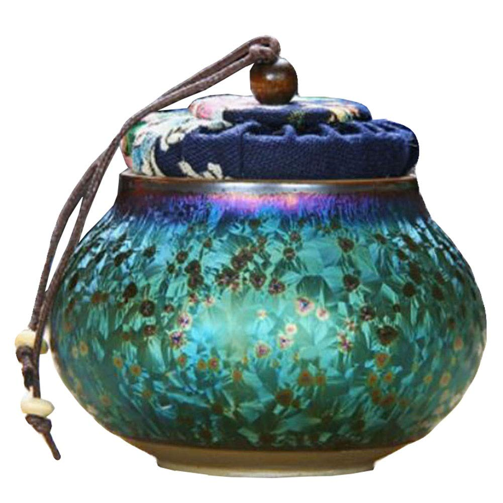 LDFN Memorial Hall pet urns Ashes Cinerary Casket Ceramics Handcrafted Colorful Glaze Starry Sky Coffin Dog Cat Funeral Tank Moisture Proof Corrosion Protection Seal Display at Home