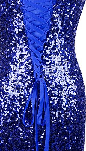 Mangas Tul Sin Relleno Angel Noche Lentejuelas Azul fashions Mujer De Vestido R0TqRwIng
