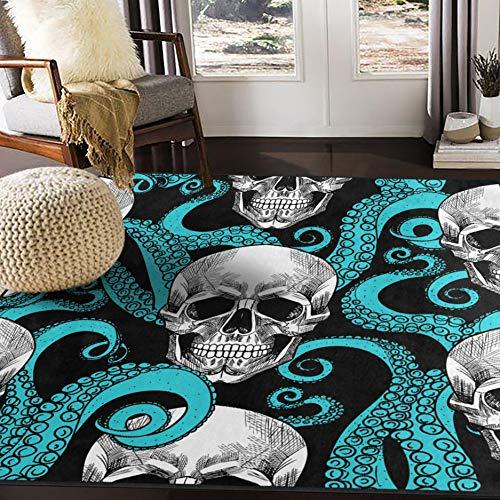 alaza Blue Octopus Kraken Sugar Skull Area Rug Rugs for Living Room Bedroom 7' x 5'