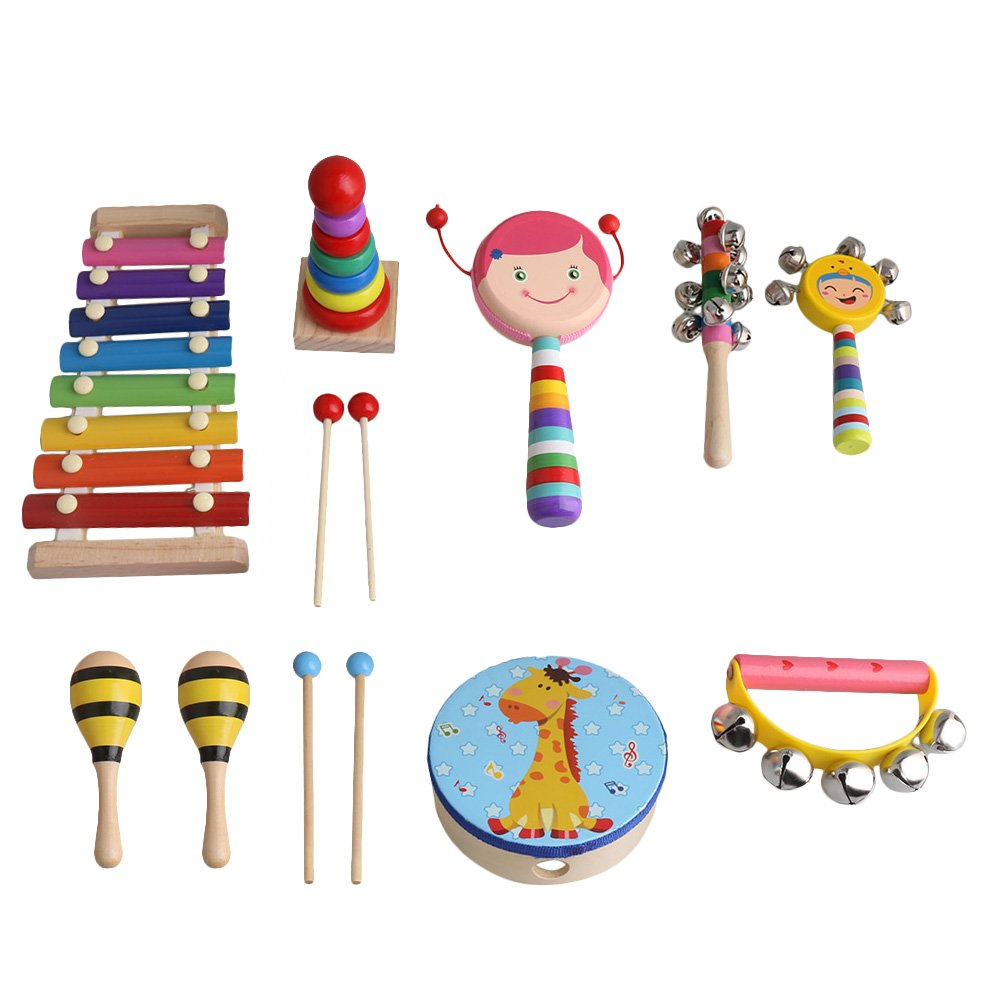 Multicolor Wooden Musical Instruments Percussion Set Nine Pieces Girls Edition by Lovermusic