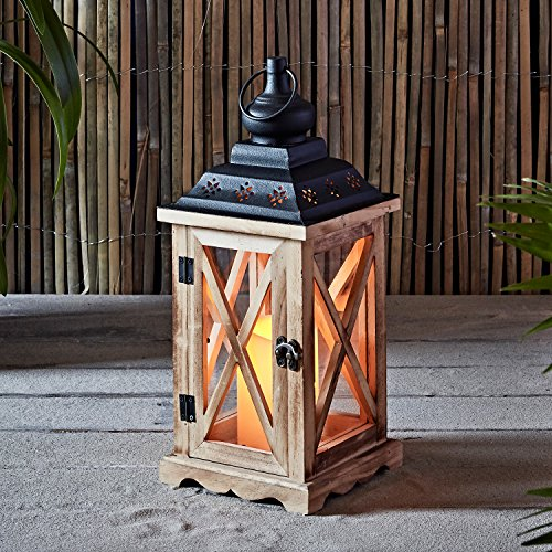 Wooden Battery Operated Indoor LED Flameless Candle Lantern