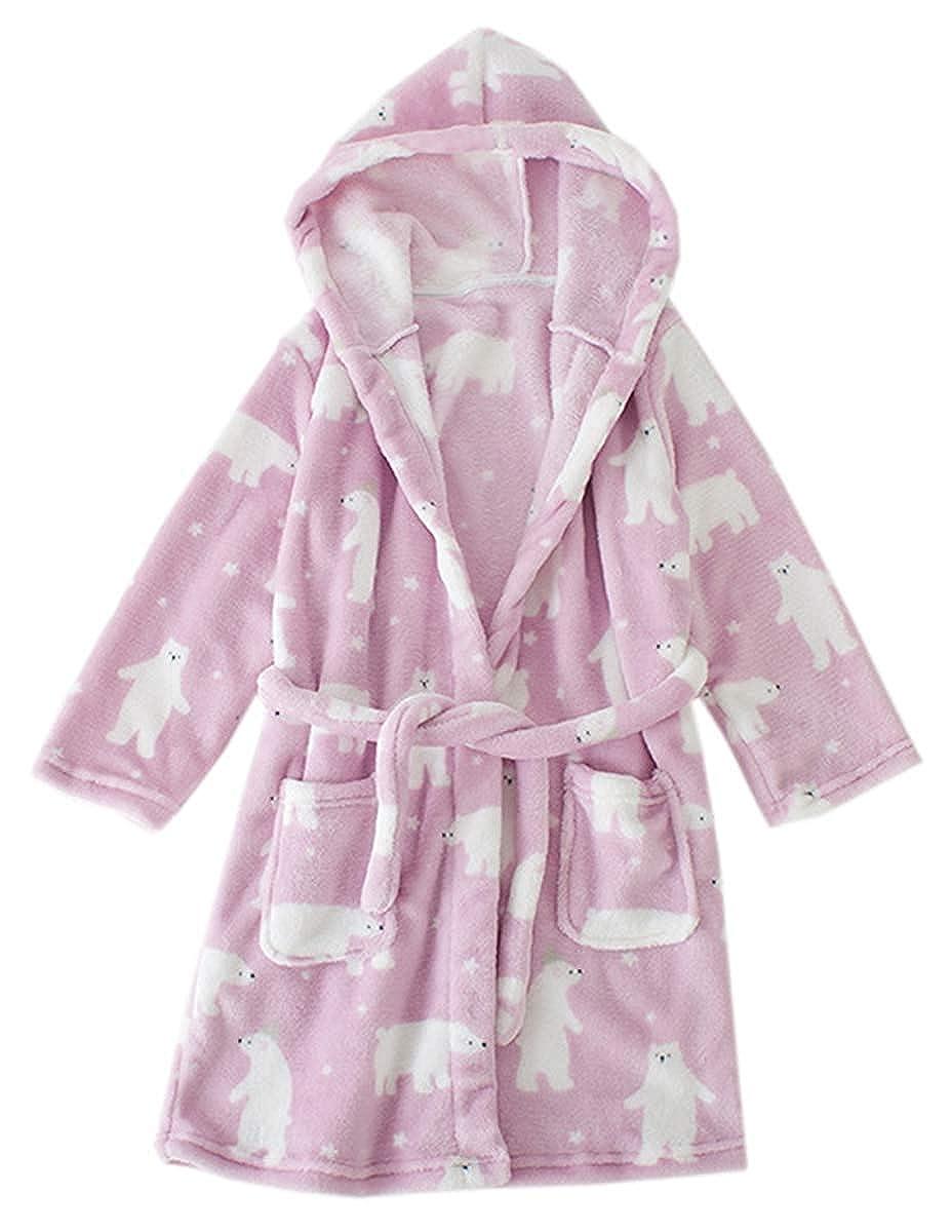 Kids Hooded Fleece Bathrobe