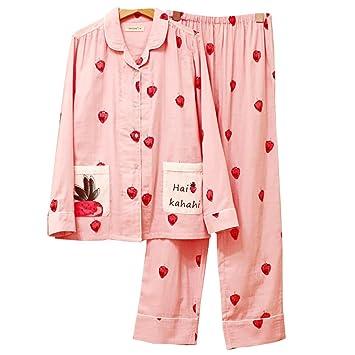 Las Mujeres Pijamas De Gasa De Algodón Dulce Establecen Señoras Ropa De Noche Suave De 2