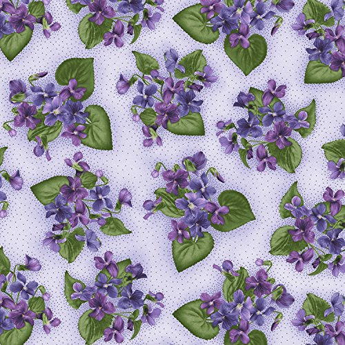 Violet Dot (Patches of Violets, Ecru dots, Lavender Background, Arabella, Maywood, By the Yard)