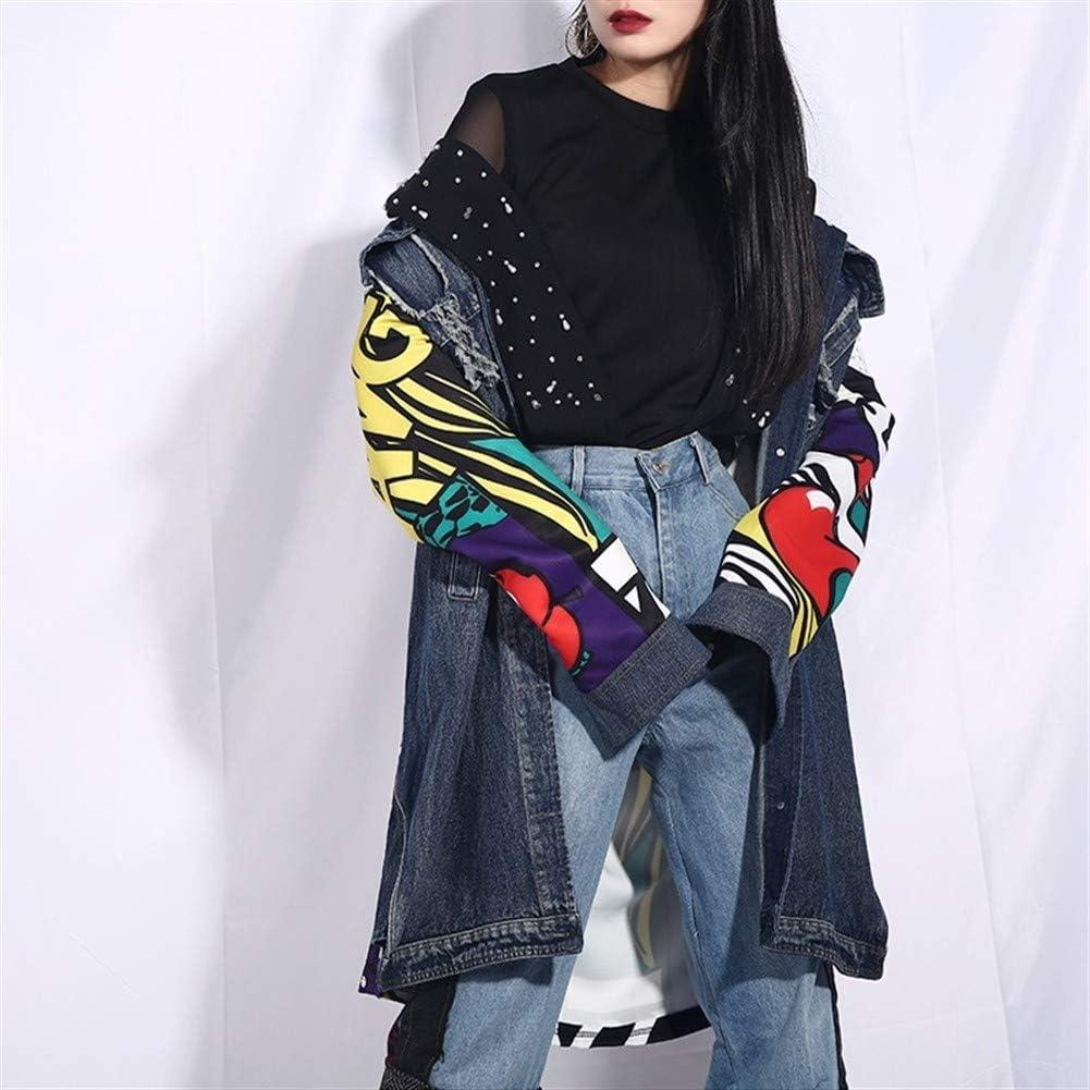 Txrh Giacca di jeans Risvolto maniche lunghe blu Modello Stampato allentato Denim grande formato Jacket Women Coat Moda Marea Blue