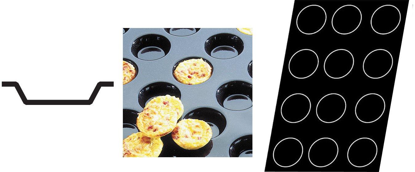 Flexipan 336007 Mini-Quiche Tartlets Nonstick Sheet Mold