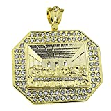 Huge The Last Supper Big Heavy Pendant Gold Finish Iced-Out Hip Hop Octagonal Jesus Bling Charm