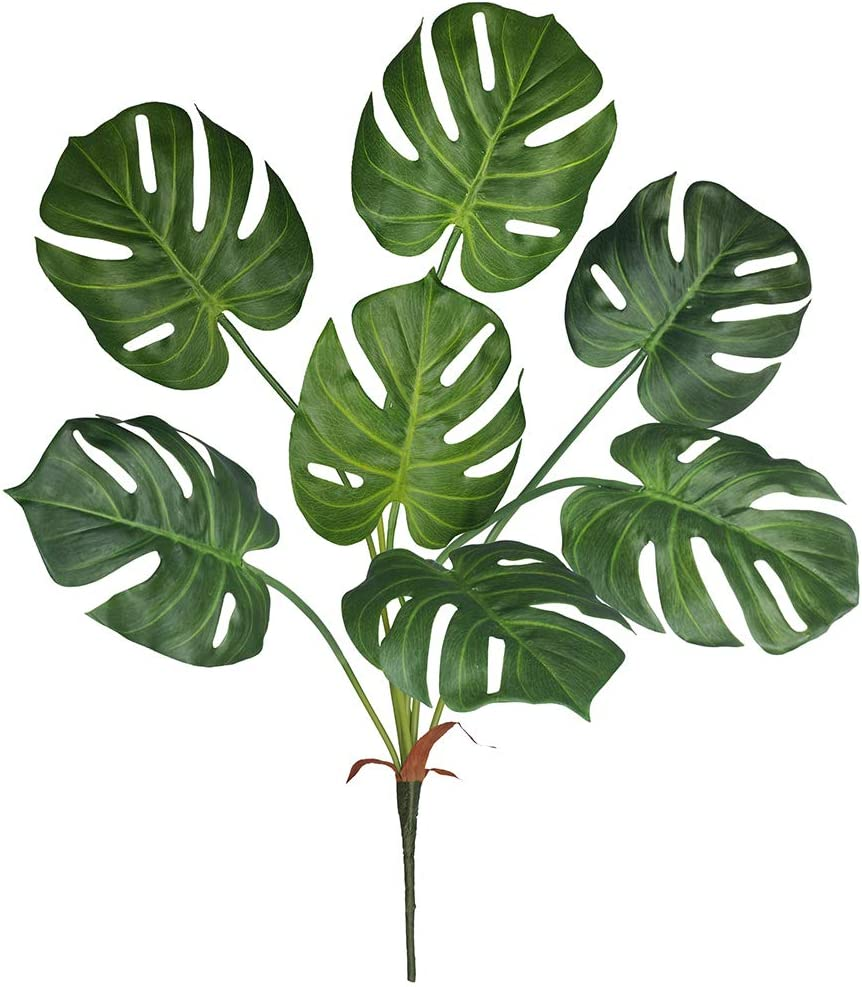 Winlyn Artificial Tropical Monstera Palm Leaves Plant Tree Faux Real Touch Split Philodendron Monstera Palm Leaf Tree 27.5
