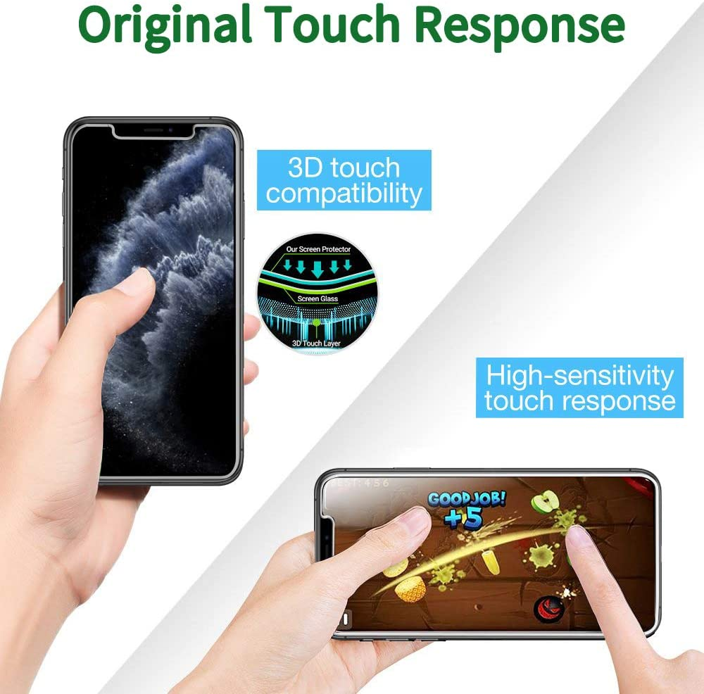 Bubble Free QHOHQ 2 Pack Tempered Glass Screen Protector +2 Pack Tempered Glass Camera Lens Protector for Apple iPhone 11 9H Hardness HD Transparent Scratch-Resistant , 6.1 4 Pack