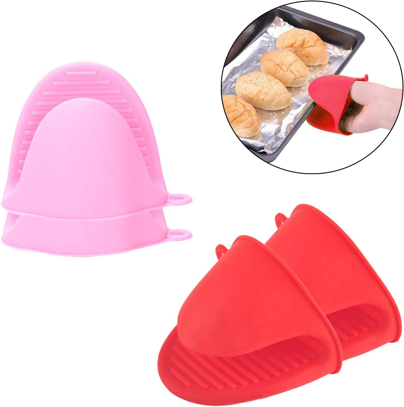 SUNTRADE 2 Pairs Mini Silicone Oven Gloves,Heat Resistant Cooking Pinch Mitts Potholder for Kitchen Cooking & Baking (Pink+Red)