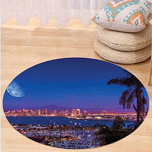 VROSELV Custom carpetApartment Decor Collection San Diego California Night With Large Moon On The Horizon Yachts Panorama Bedroom Living Room Dorm Round 24 inches (San Furniture Repair Diego Upholstery)