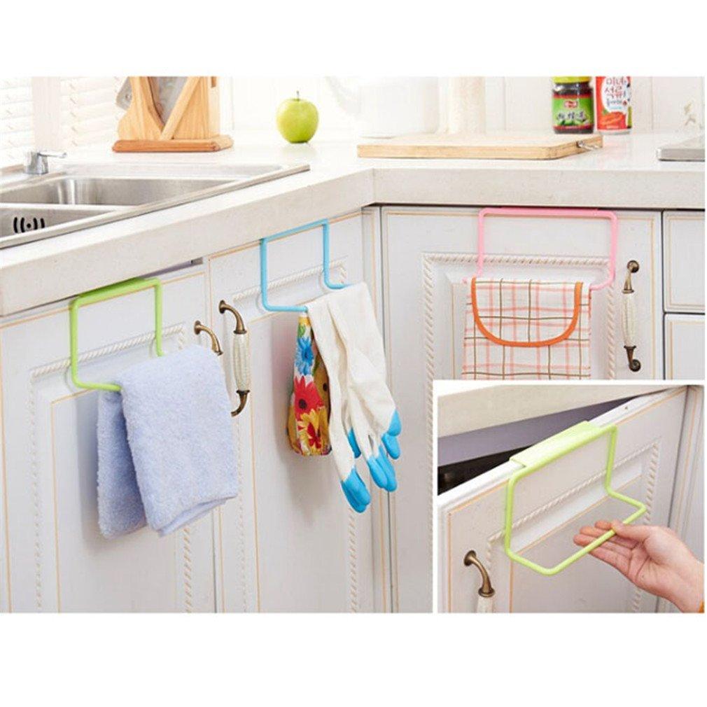 TraveT 1pc Plastic Single Towel Bar Hanging Towel Rack Towel Door Holder Rail Organizer Bathroom Kitchen