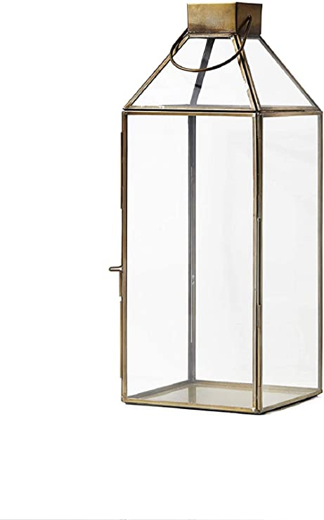 Serene Spaces Living Large Size Square Gold Lantern With Glass Panels Measures 16 Inches Tall Sold Individually Kitchen Dining