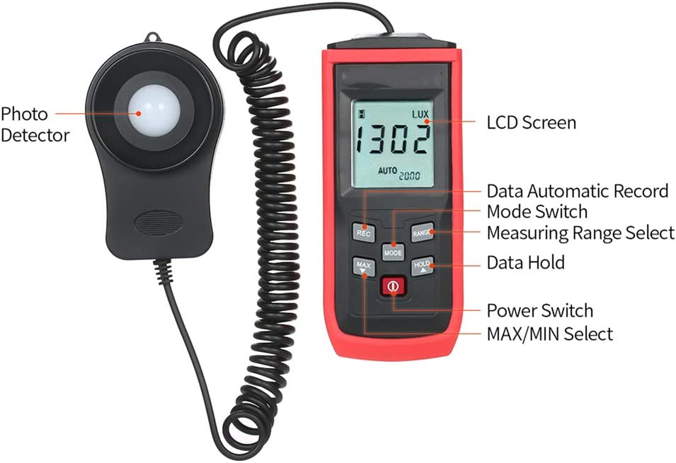 HLL Handheld Mini Lux Meter,Digital Photometer Luxmeter 0-200000Lux 0-100000Lux LCD Lux//FC Illuminometer