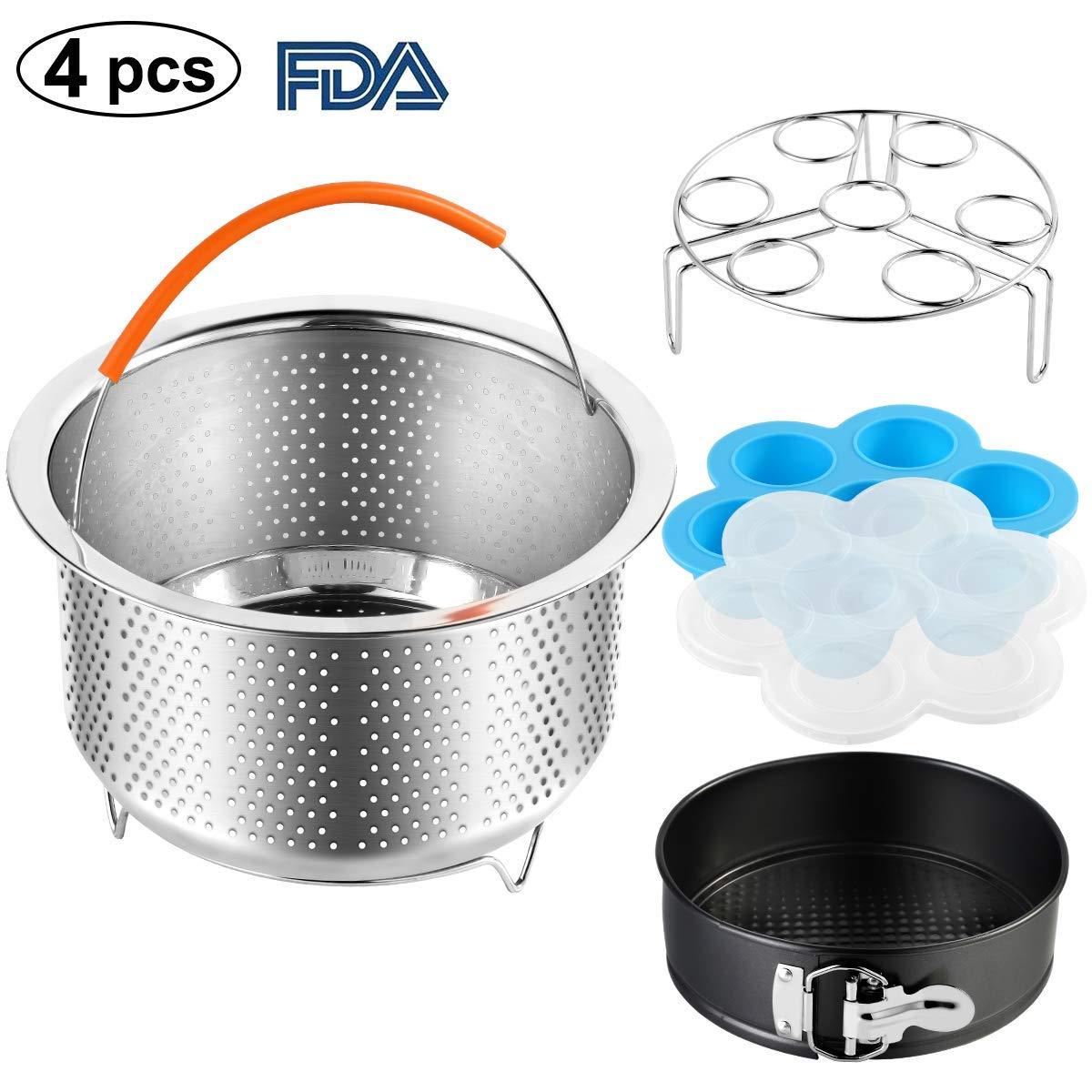 Accessories Set Compatible Instant Pot-Fits 6, 8Qt Instant Pot Pressure Cooker, 4-Pcs with Steamer Basket, Egg Steamer Rack, Silicone Egg Bites Mold, Non-Stick Springform Pan, Best Gift Idea