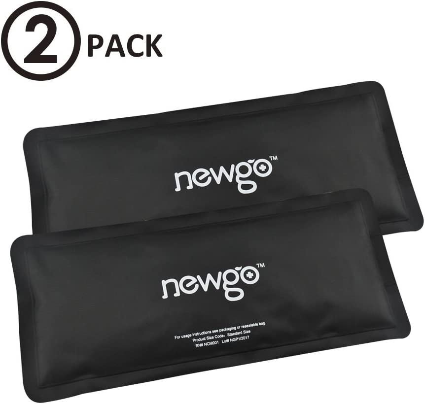 """NEWGO®Clay Ice Pack for Cold Therapy Reusable Hot Cold Pack for Injuries Back Pain Sprains Swelling and Bruises (9.84"""" x 4.92"""") - 2 Pack"""