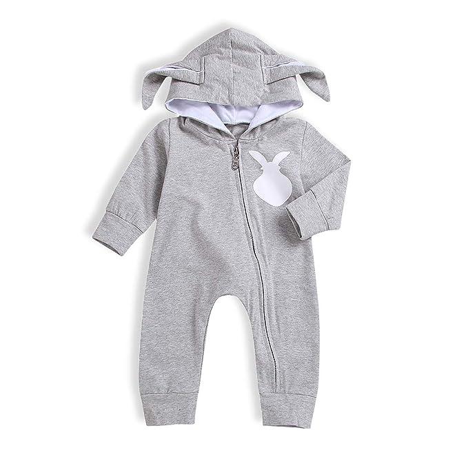 902b36223d4 WOSENHK Newborn Baby Boys Rabbit Hooded 3D Long Ear Zipper Bodysuits Baby  Girls Bunny Tail Romper