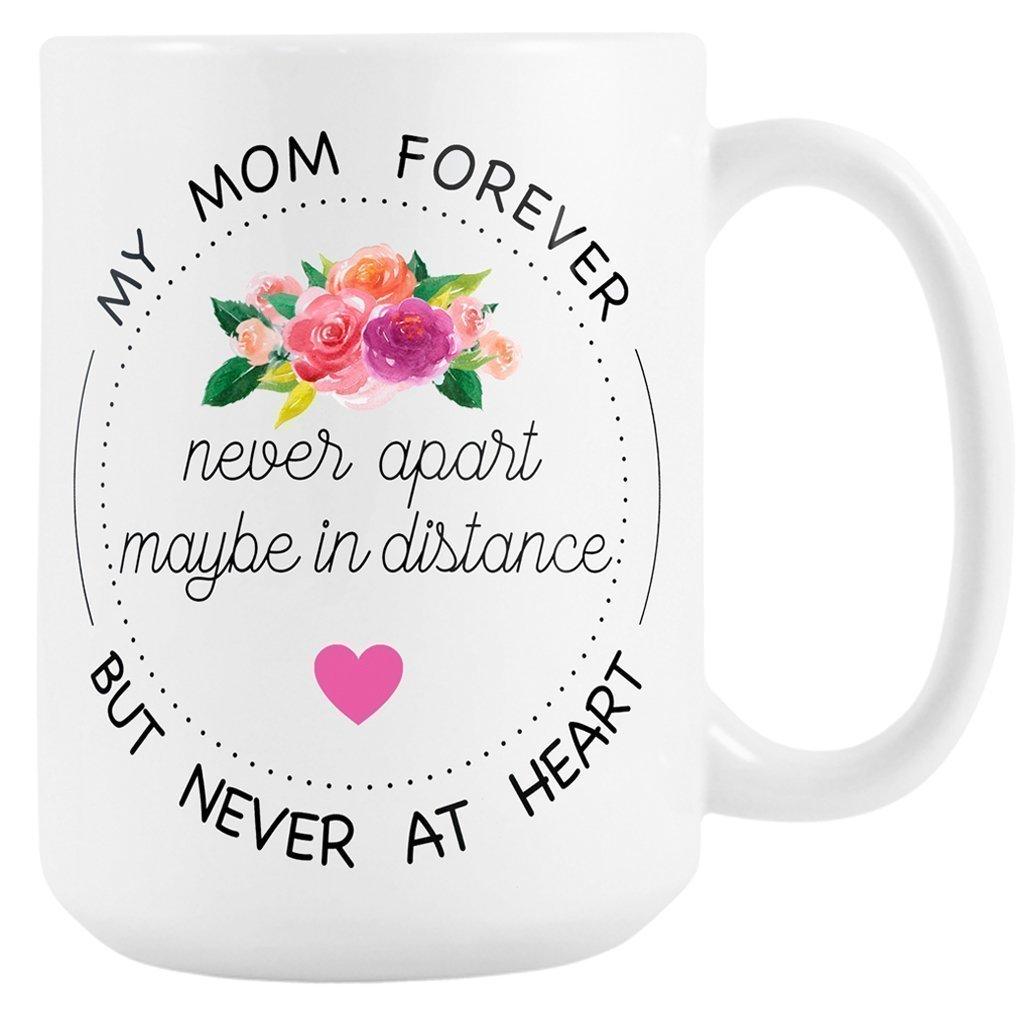 Long Distance Mug for Mom, Large 15 oz Ceramic Coffee Mug, Gift for Mom