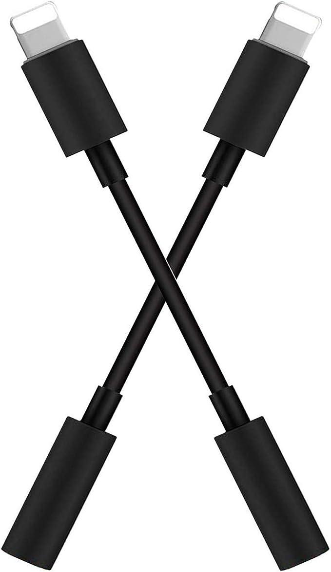 Image of【2 Pack】 Adaptador de Auriculares para iPhone 11 Jack de 3,5 mm Conector de Auriculares para iPhone 11/MAX/XS/XR/X/8/7 Convertidor para AUX Divisor de Audio Compatible con Todos iOS - Negro