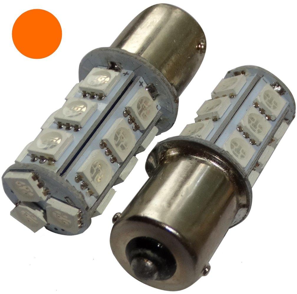 Aerzetix: 2 x Lampadina P21 W R5 W R10 W 12 V 18LED SMD ambrato Base 1156 SK2-C14065-AE51 x2