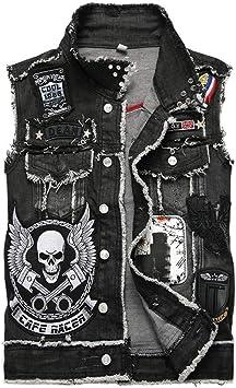 AIQIXING Motocicleta Denim Chaleco Punk Chaleco-algodón-Hombre ...