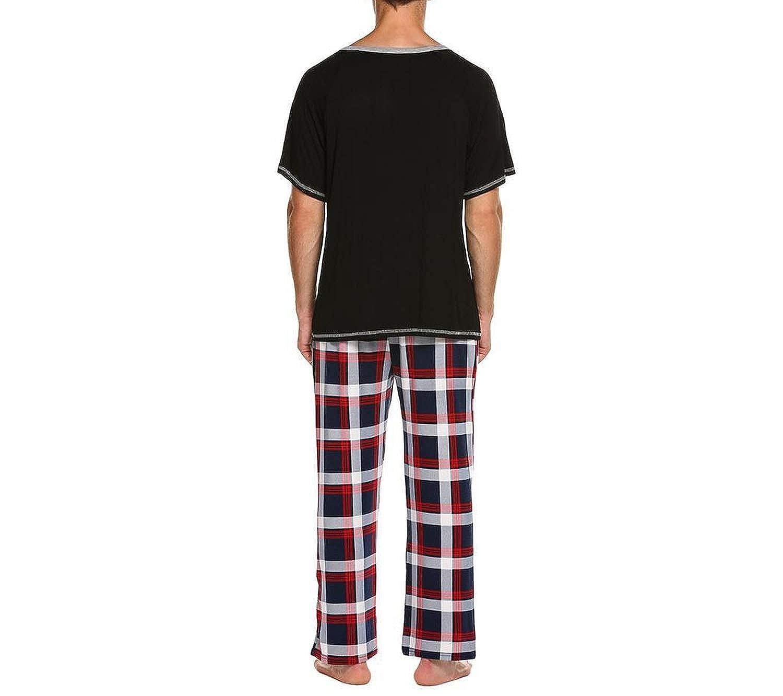 Men Pajamas Set 100/% Cotton Sleepwear Short Sleeve Plaid Long Pants Pyjamas Set Loungewear,Navy Blue,XXL,Asia