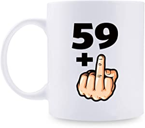 60th Birthday Gifts for Women - 1960 Birthday Gifts for Women, 60 Years Old Birthday Gifts Taza de café para mamá, esposa, amiga, hermana, ella, colega, compañera de trabajo - 59 + Taza de dedo medio
