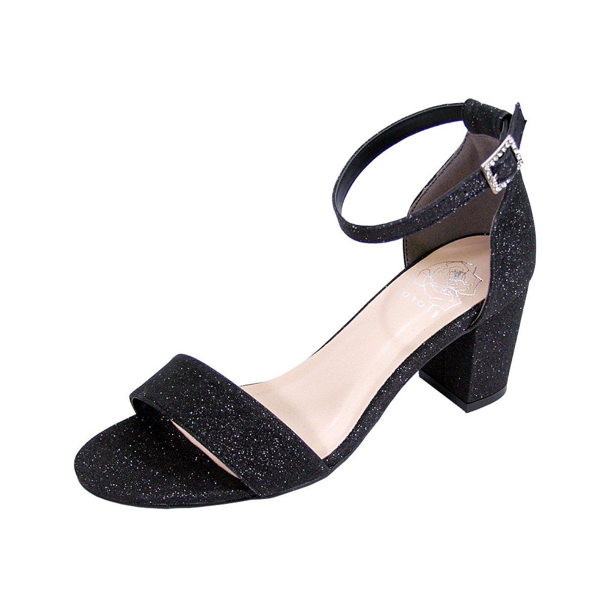 Women's Adele Black Glitter Satin Wide Width Block Heel Ankle Strap Dress Sandals - DeluxeAdultCostumes.com