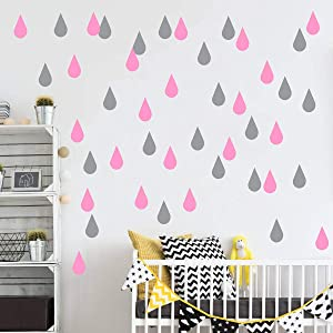 JUEKUI Water Droplets Wall Decals Raindrop Wall Sticker Removable Wall Decor Easy Peel Stick Girls Bedroom Nursery Bedroom Home Decor WS43 (Grey + Soft Pink)