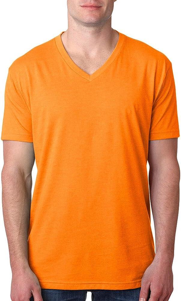Orange Medium Next Level Mens CVC Combed Baby Rib-Knit V-Neck T-Shirt