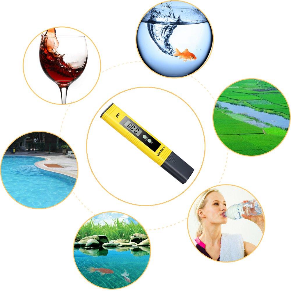 VANTAKOOL Digital PH Meter, 0.01 PH High Accuracy Water Quality Tester with 0-14 PH Measurement Range for Household Drinking, Pool and Aquarium Water PH Tester Design with ATC (yellow) by VantaKool (Image #7)