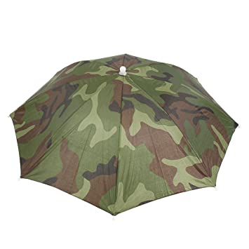 9b180bb65d9 sourcing map Elastic Headband Camouflage Pattern Sun Rain Umbrella Hat Cap  for Fishing