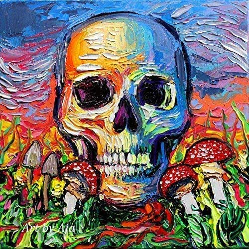 Amazon Com Psychedelic Art Print Trippy Colorful Skull And Mushrooms Artwork Back To The Earth Artwork By Aja Choose Size And Type Of Paper Handmade