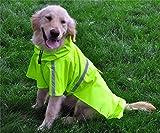 JYHY Dog Raincoat Adjustable Reflective Waterproof Lightweight Dog Rain Jacket with Hood for Small Medium Large Dogs,Green XL